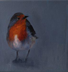 Robin II oil on canvas 20 x 20 cm